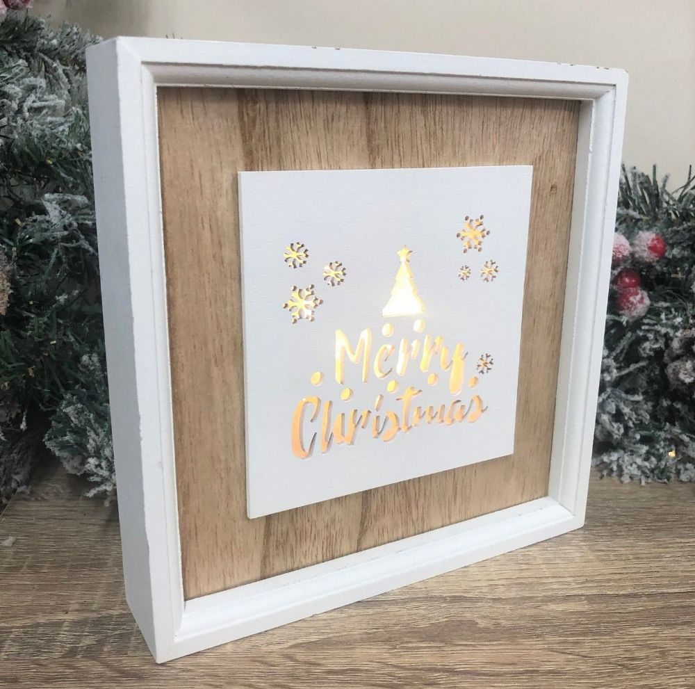 Distressed Light Up Framed Xmas Tree Merry Christmas Box Sign